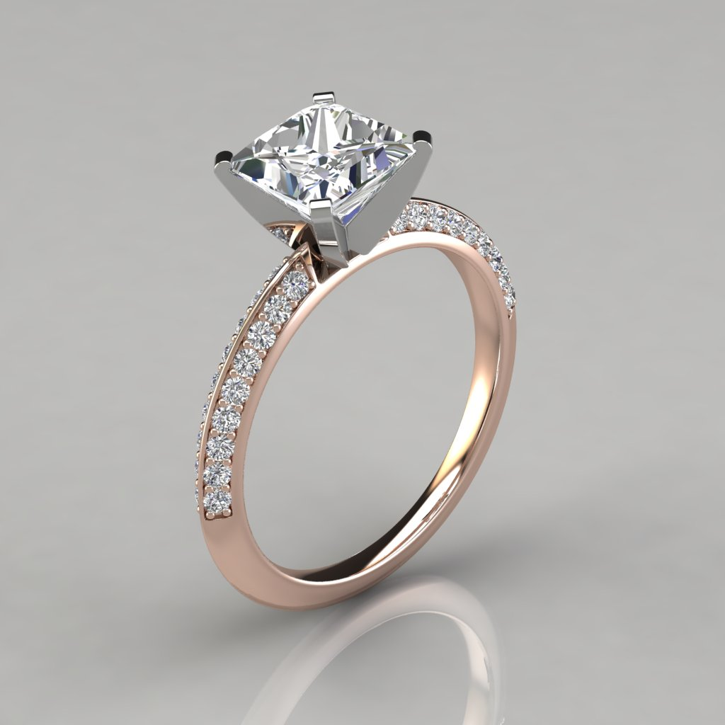 ... 117r1 Rose Gold Two Sided Princess Cut Engagement