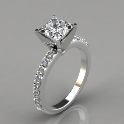 Man-Made-Diamond-Pave-Set-Four-Prong-Engagement-Ring-14k-White-Gold