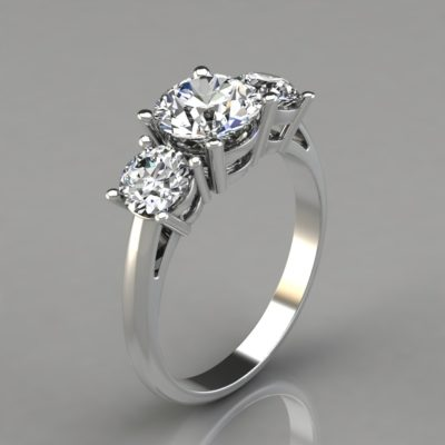 Three-Stone-Pavé-Man-Made-Diamond-Engagement-Ring