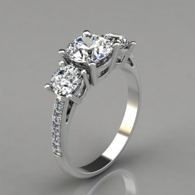 Three-Stone-with-Accents-Engagement-Ring-Man-Made-Diamond-14k-Gold