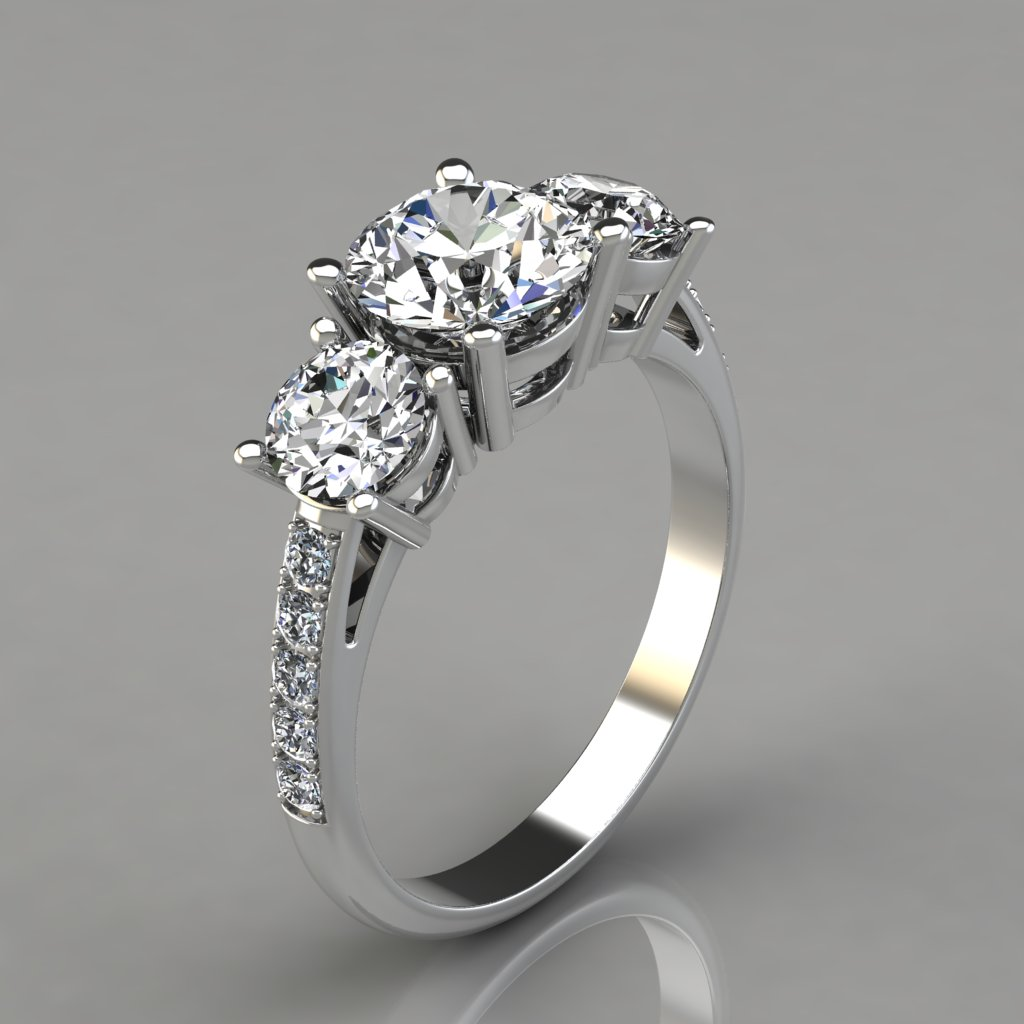 three stone engagement ring with accents puregemsjewels. Black Bedroom Furniture Sets. Home Design Ideas