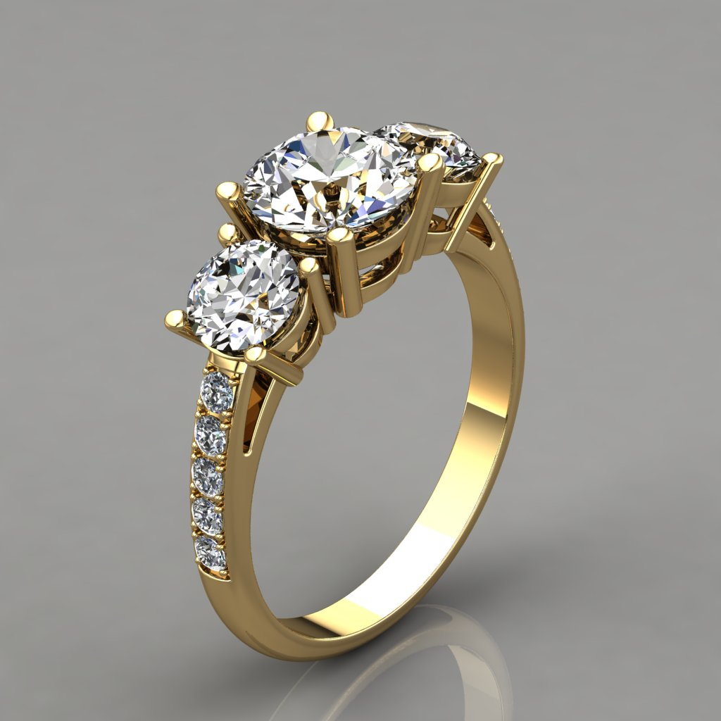 Three Stone With Accents Engagement Ring Man Made