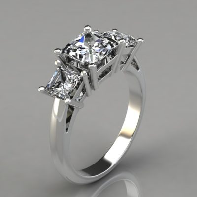Three-Stone-Engagement-Ring-Princess-Cut-Man-Made-Diamond-14k-Gold