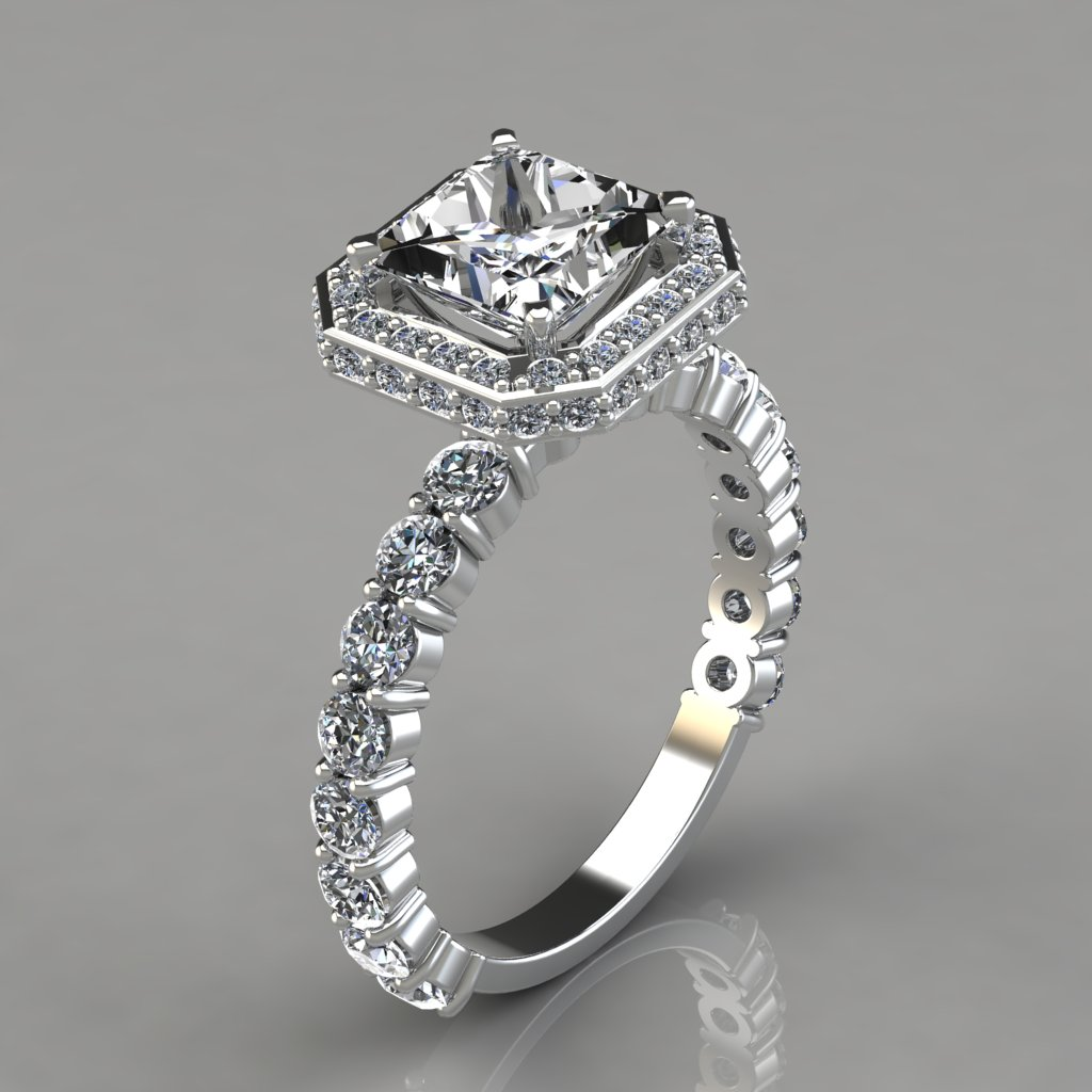 Princess Halo Style Engagement Ring With Accents