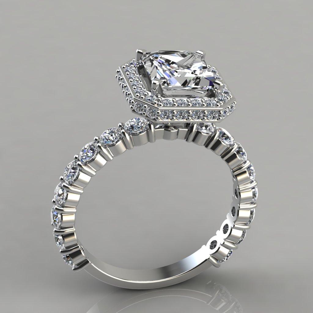 Princess Halo Style Engagement Ring With Accents  197w2halostyleprincesscutsimulateddiamondsengagement