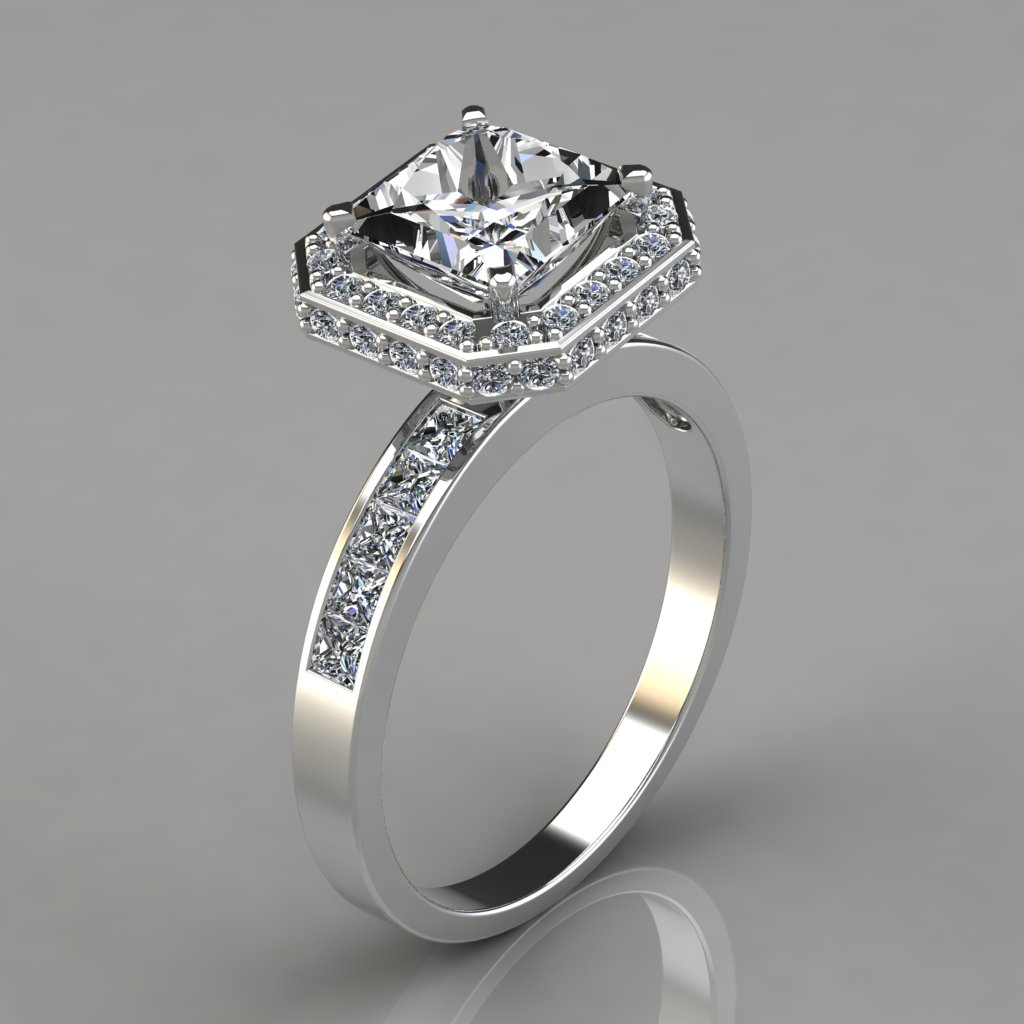 halo style princess cut channel set engagement ring. Black Bedroom Furniture Sets. Home Design Ideas