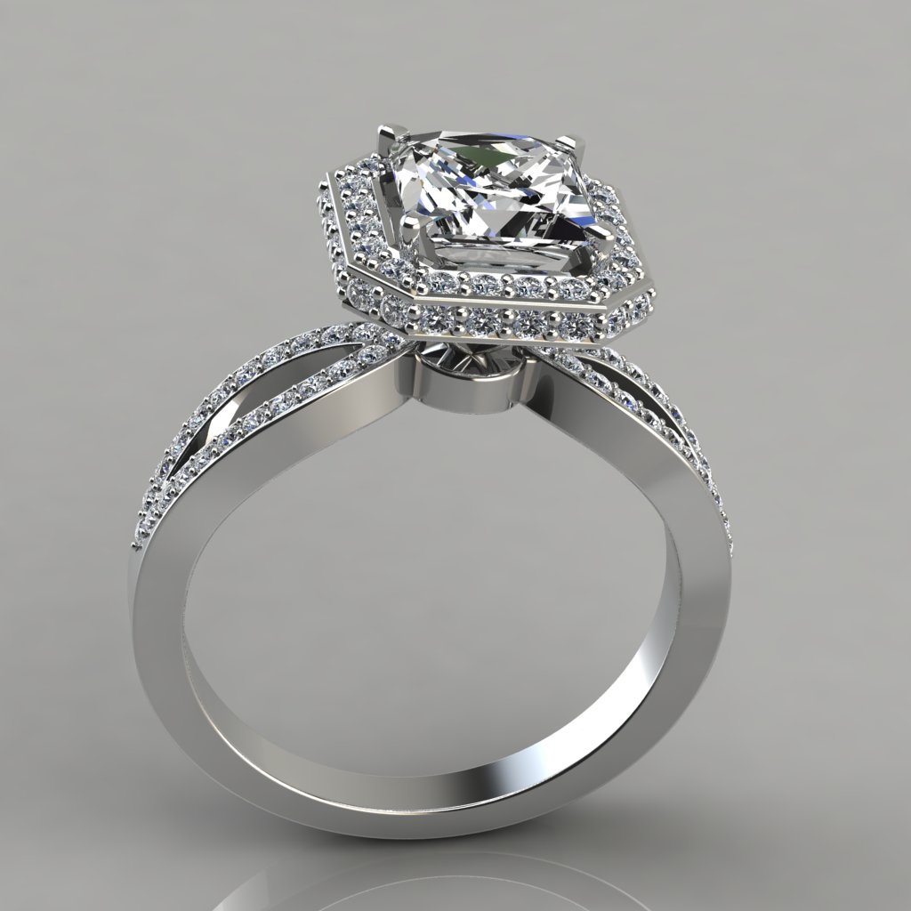Split Shank Halo Style Engagement Ring With Accent