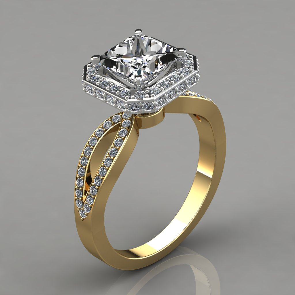 Split Shank Halo Style Engagement Ring With Accent ...