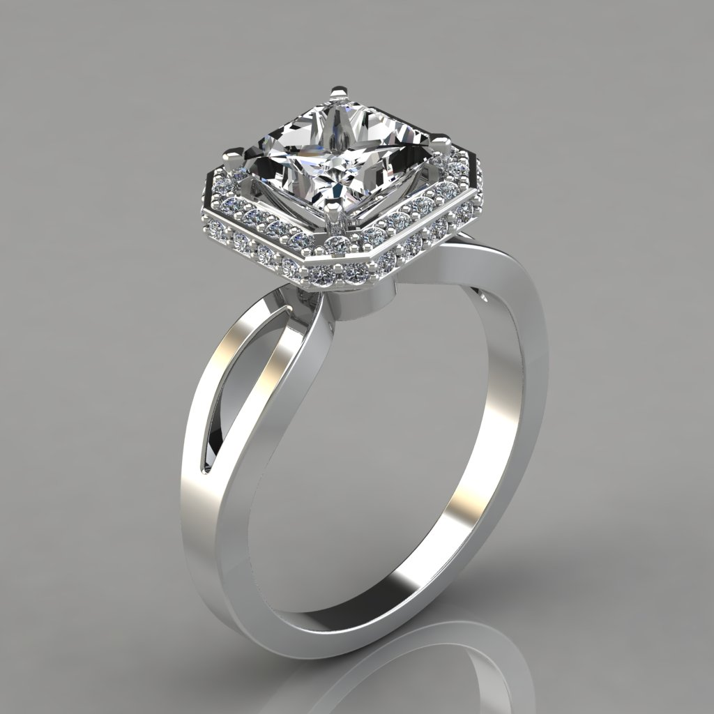 Princess Cut Engagement Ring With Round Side Stones