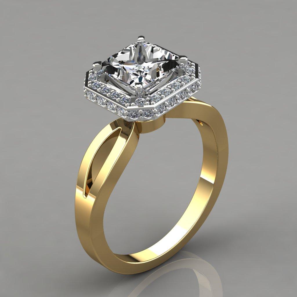 Split Shank Princess Halo Style Engagement Ring ...