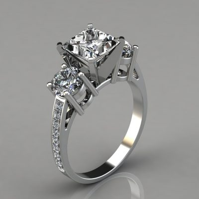 207w1-Three-Stone-White-Gold-Princess-Cut-Engagement-Ring-With-Accents-Man-Made-Diamonds-Pure-Gems-Jewels