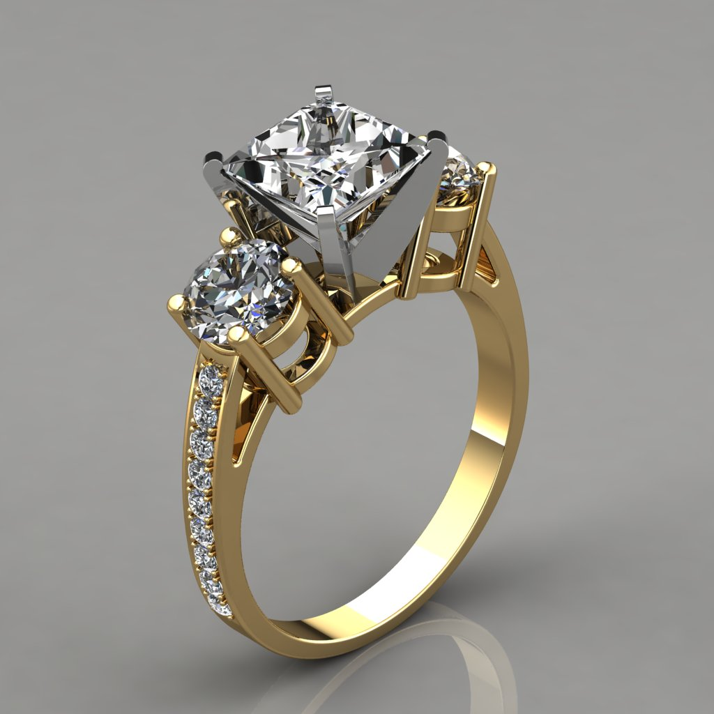 stone diamond picture yellow canary and of colorless ring three