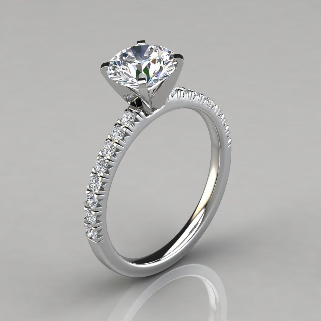 a00eb1efe French Pave Cut Engagement Ring 14k White Gold - PureGemsJewels