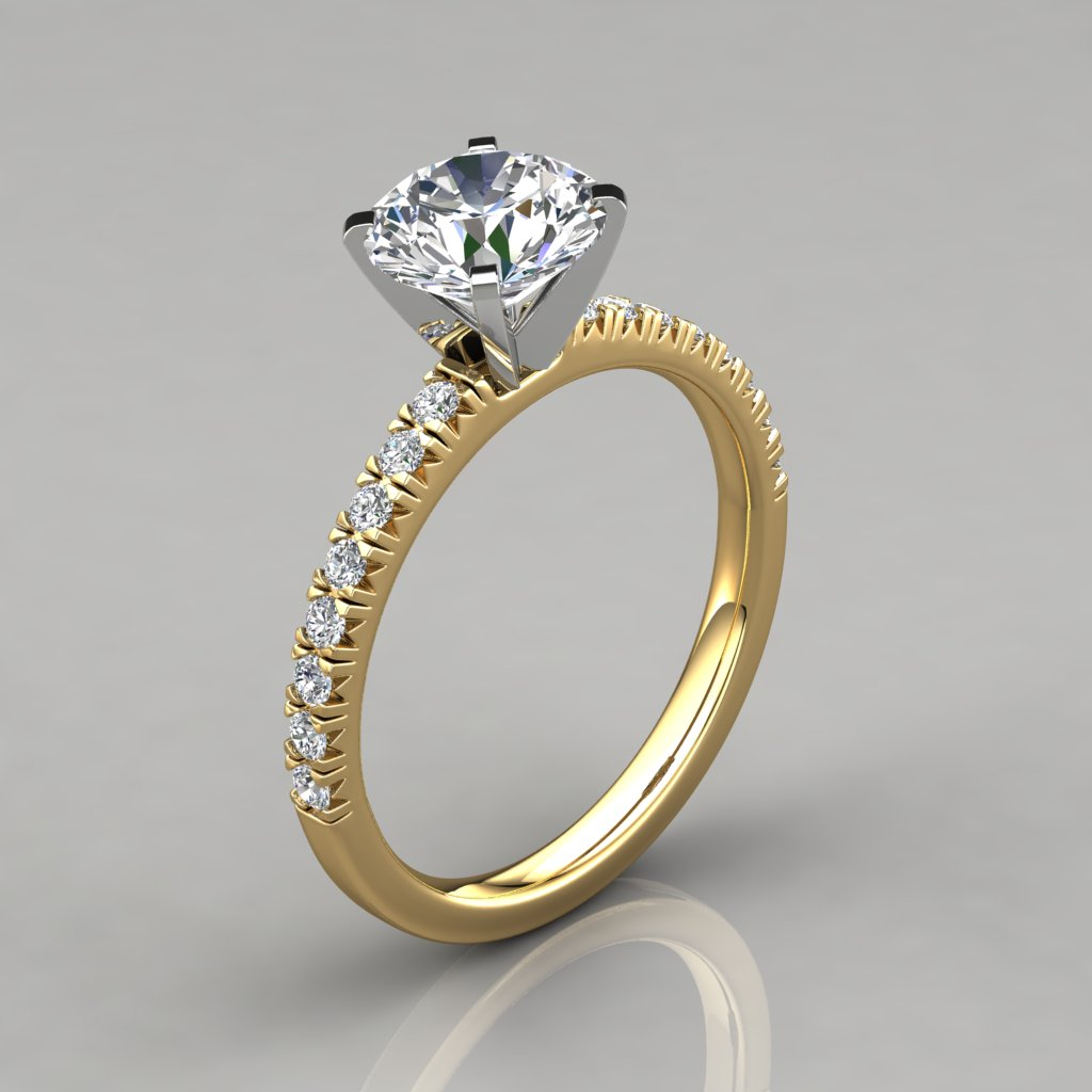 french pave cut engagement ring 14k white gold. Black Bedroom Furniture Sets. Home Design Ideas