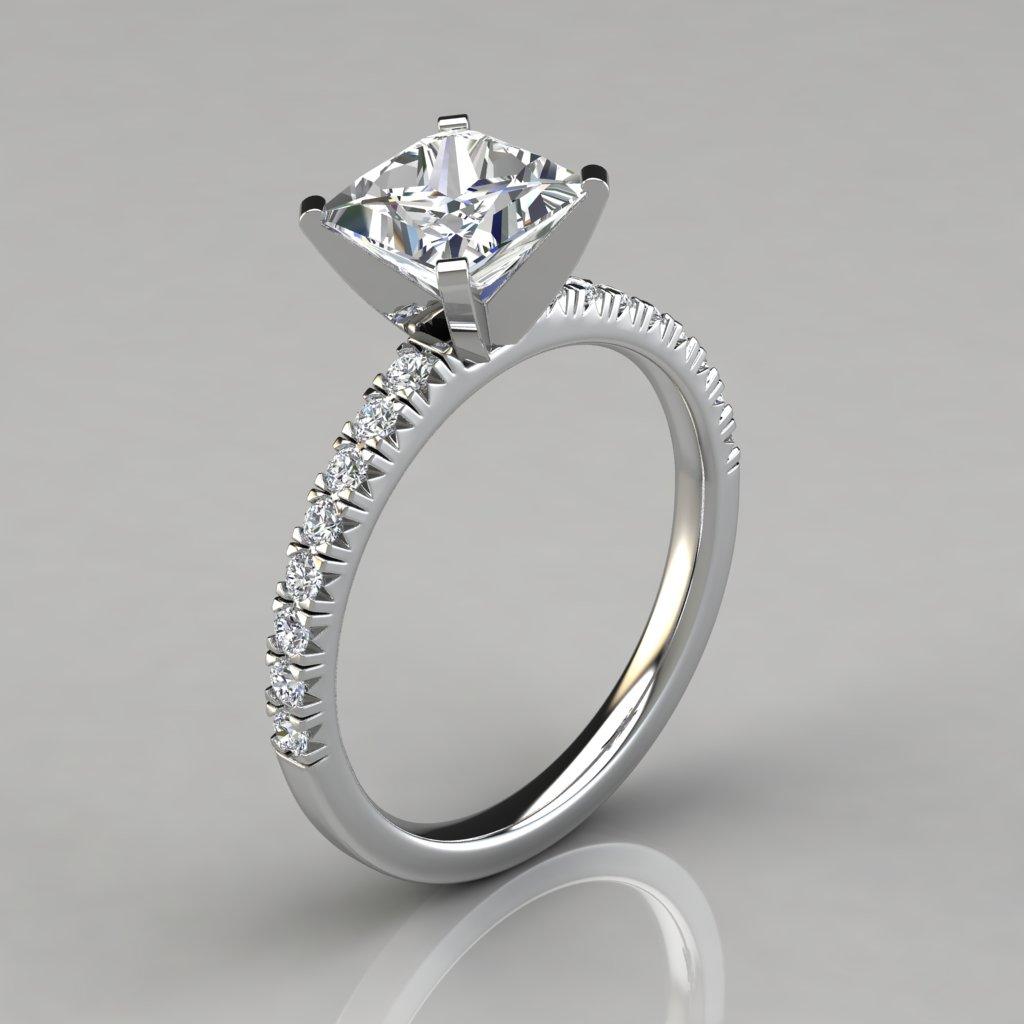 princess cut french pave engagement ring 14k gold. Black Bedroom Furniture Sets. Home Design Ideas