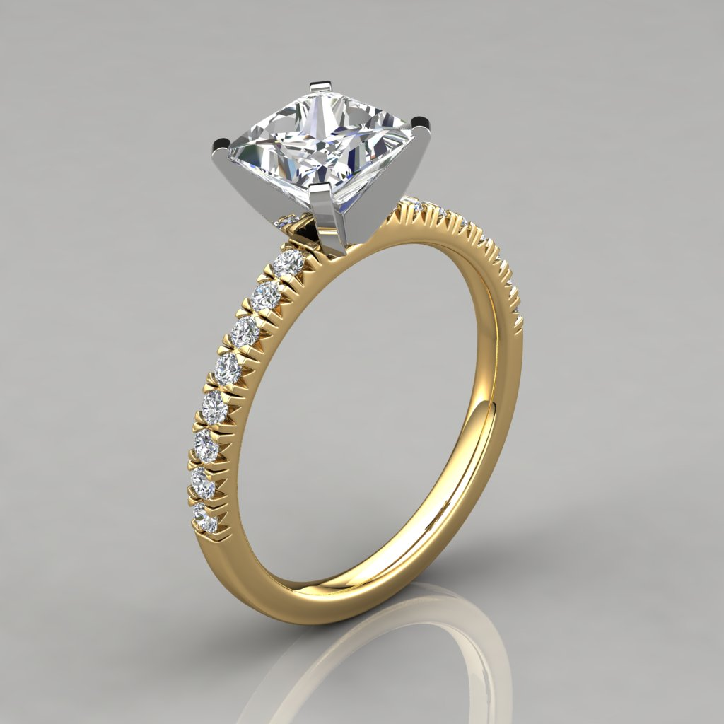 White And Pure Gold Engagement Ring  Diamond