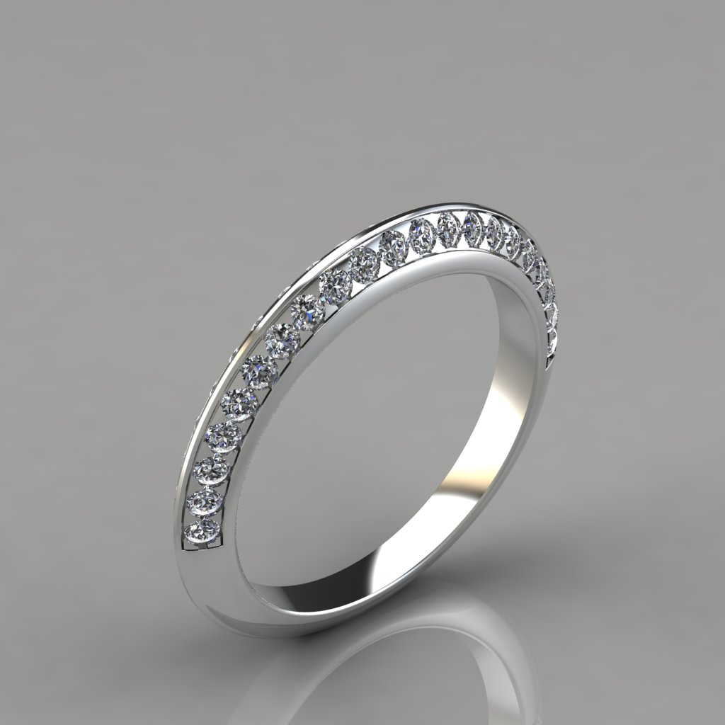 0 45ct Two Row Knife Edge Pave Wedding Band