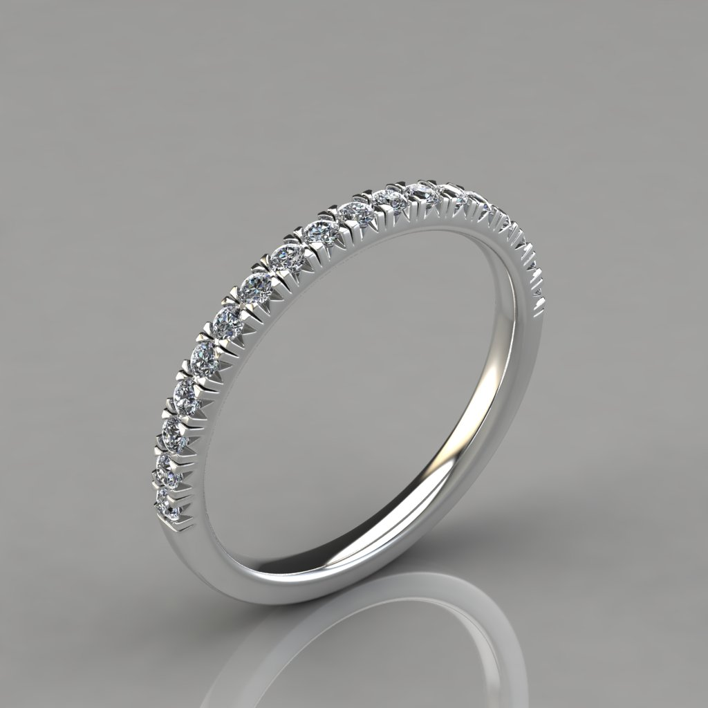 Pavé Bands: 0.34Ct French Pave Cut Wedding Band Ring