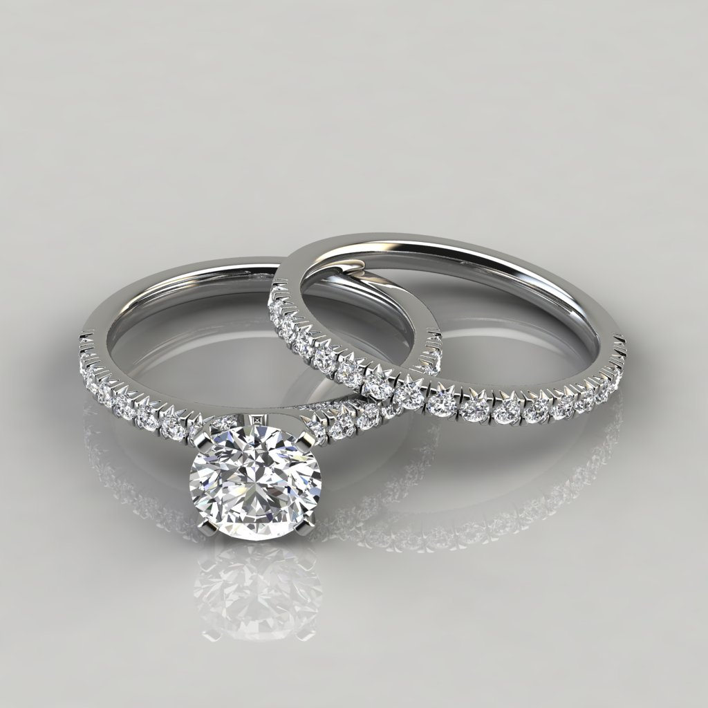 French Pave Cut Engagement Ring And Wedding Band Set