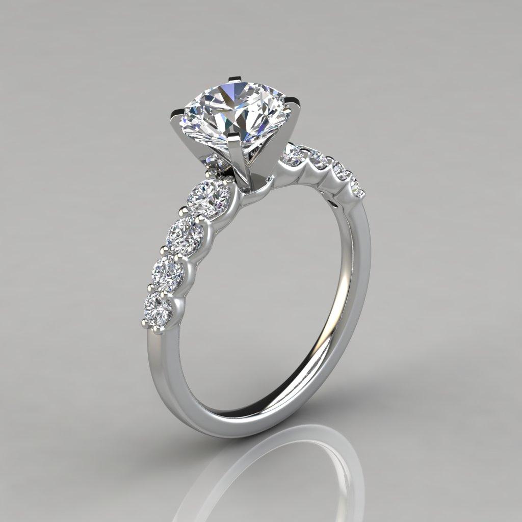 Graduated Side Stone Engagement Ring - PureGemsJewels