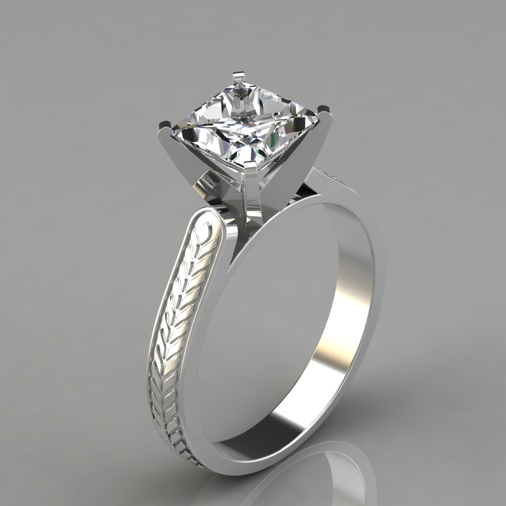Princess Cut Engraved Solitaire Engagement Ring