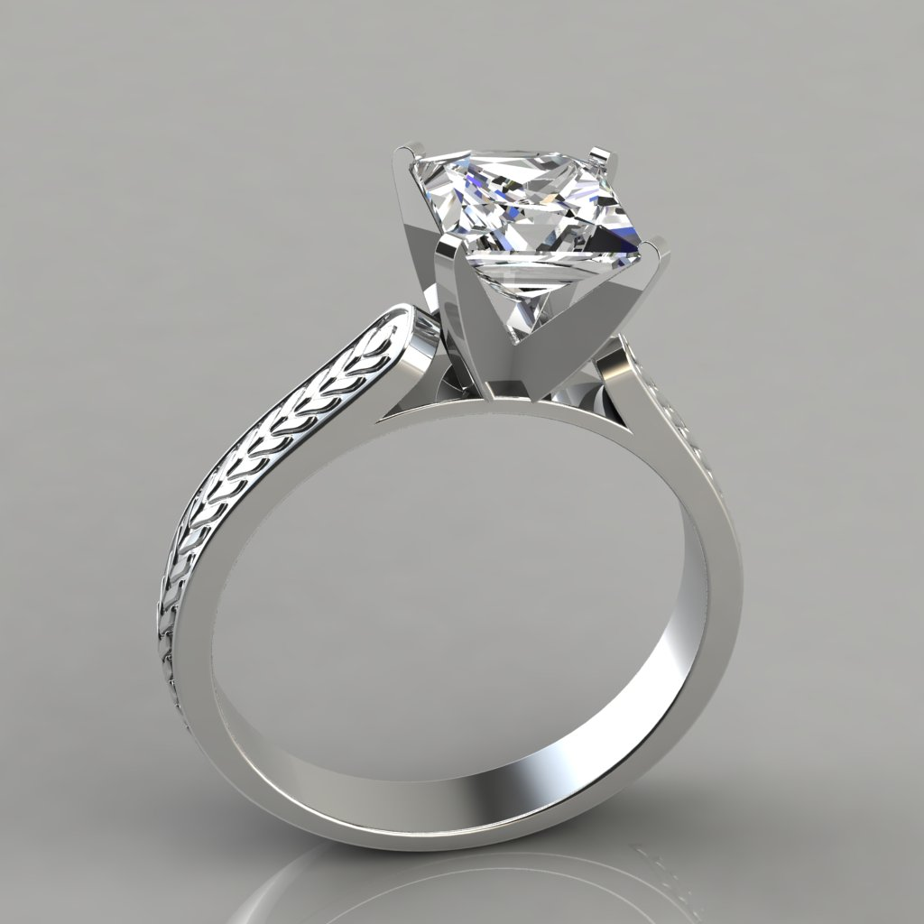 Princess Cut Engraved Solitaire Enement Ring Puregemsjewels
