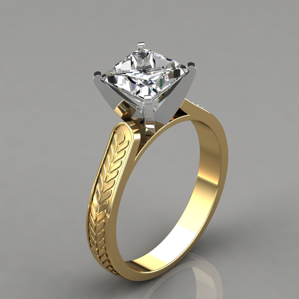 038by3 Vintage Style Engraved Solitaire Man Made Diamond