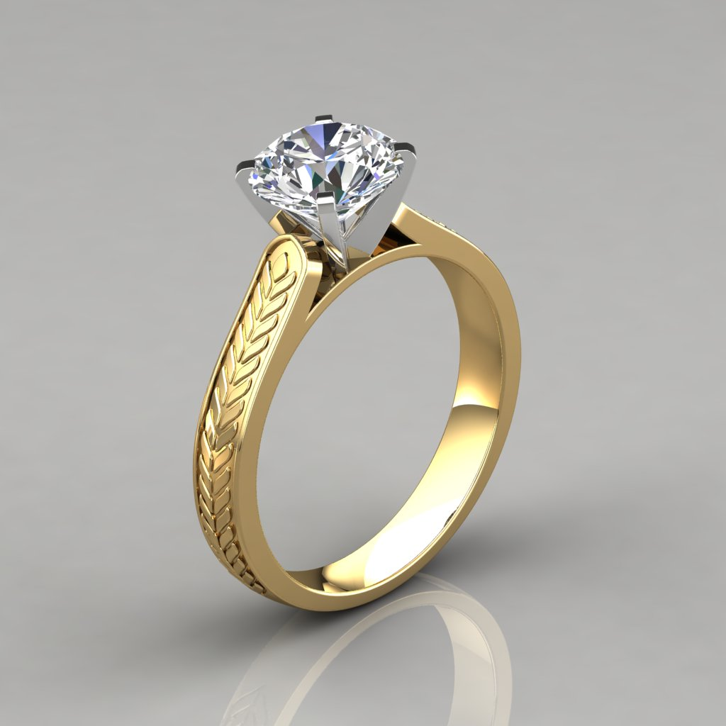 038y1 Vintage Style Engraved Solitaire Engagement Ring By