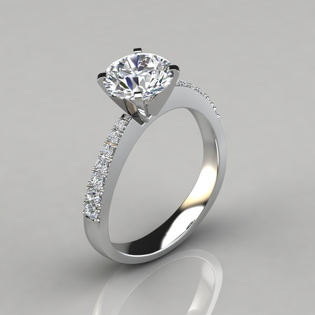 tapering pave round cut engagement ring puregemsjewels