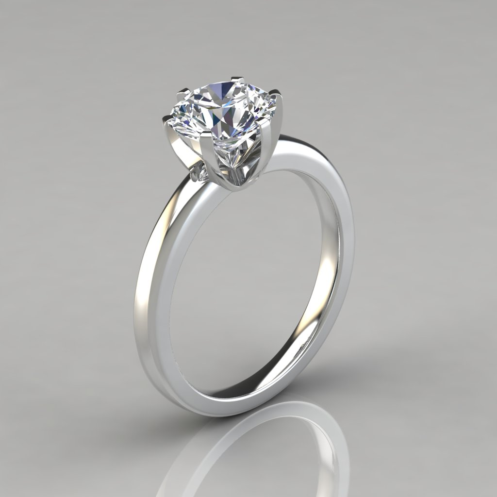solitaire plated cz accent round gold engagement wedding halo double rings ring rhodium white