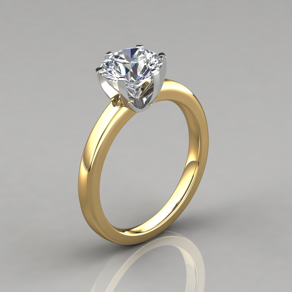 Six Prong Solitaire Engagement Ring - PureGemsJewels