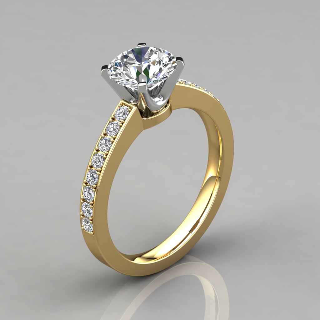 pure man gems gold ring graduated white rings jewels milgrain puregemsjewels diamond cut engagement product round made