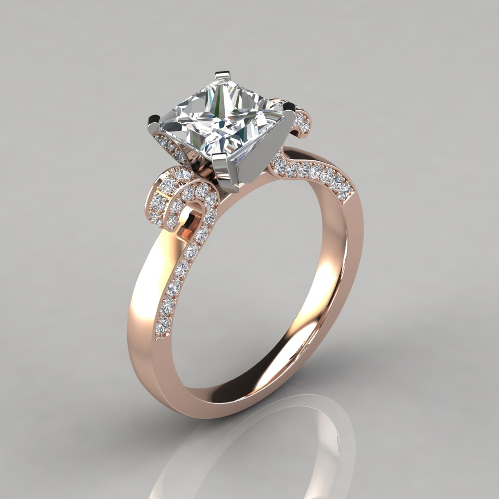 ... 037r1 Vintage Floral Design Princess Cut Engagement Ring