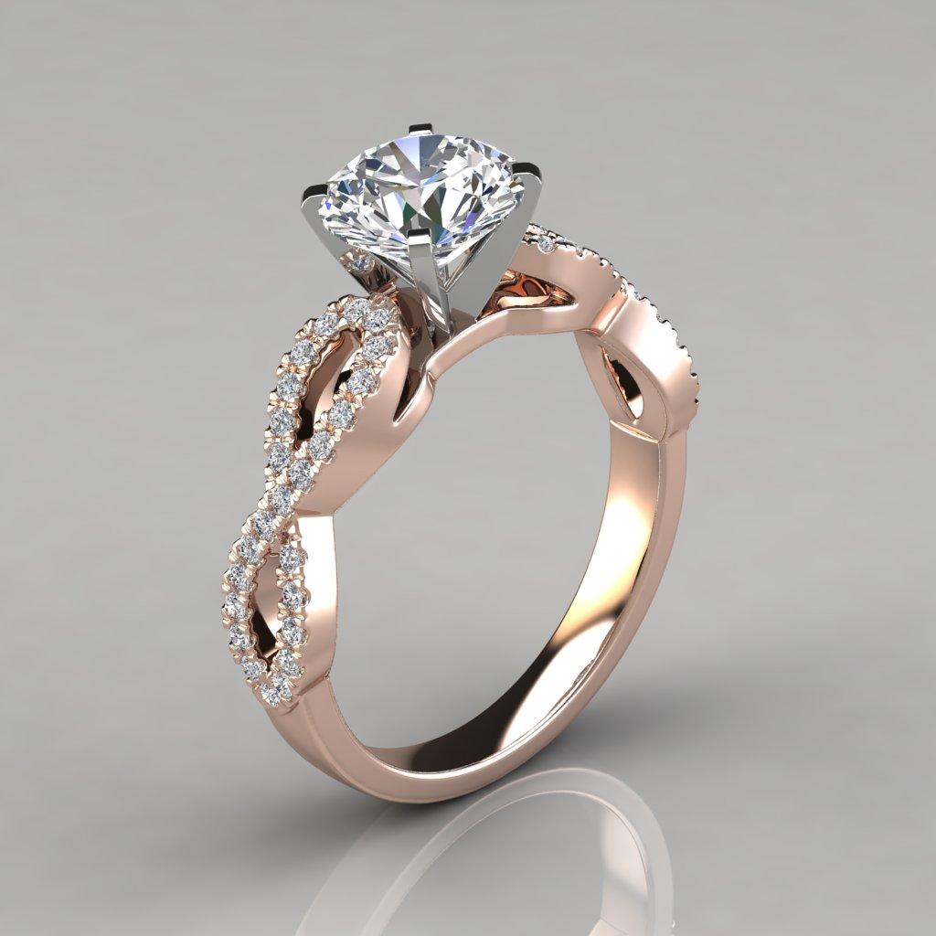 206r1 Infinity Design Rose Gold Man Made Diamond