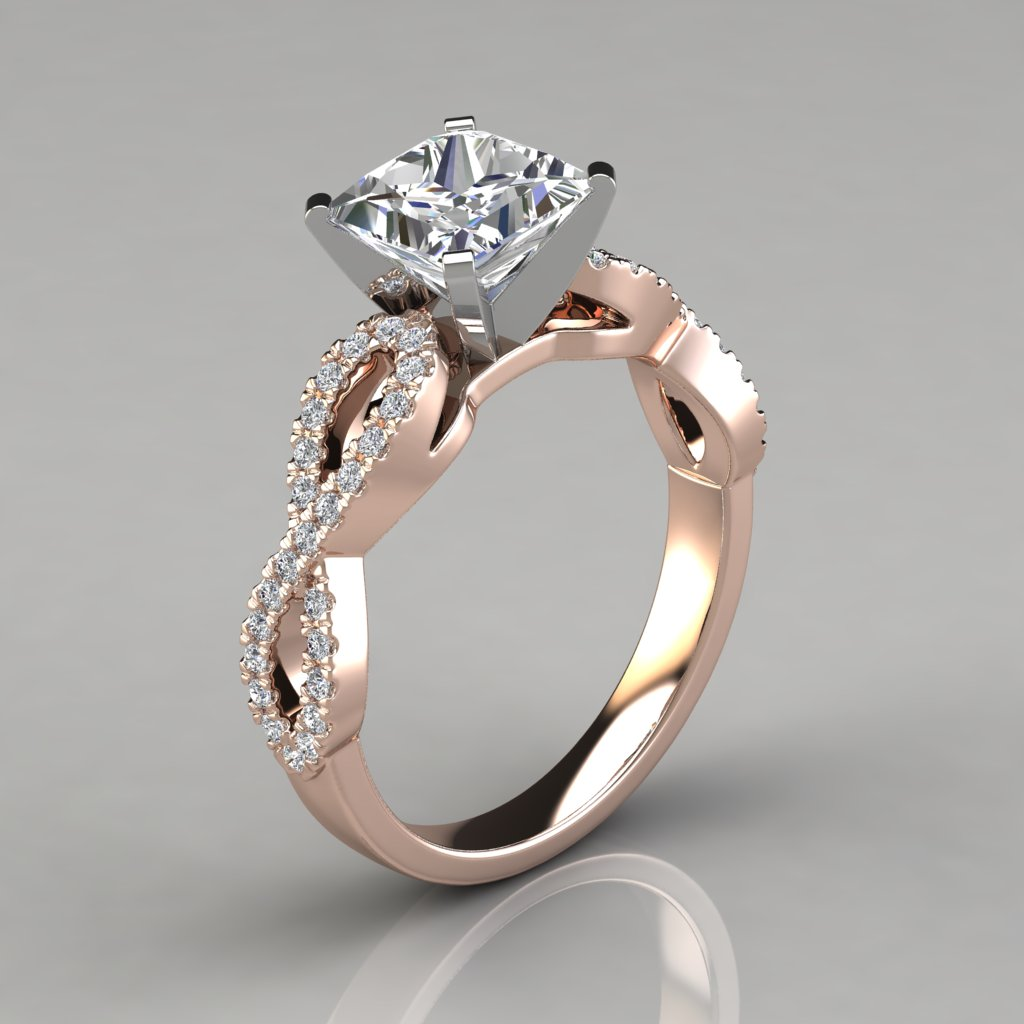 Infinity design princess cut engagement ring puregemsjewels for Infinity design wedding ring