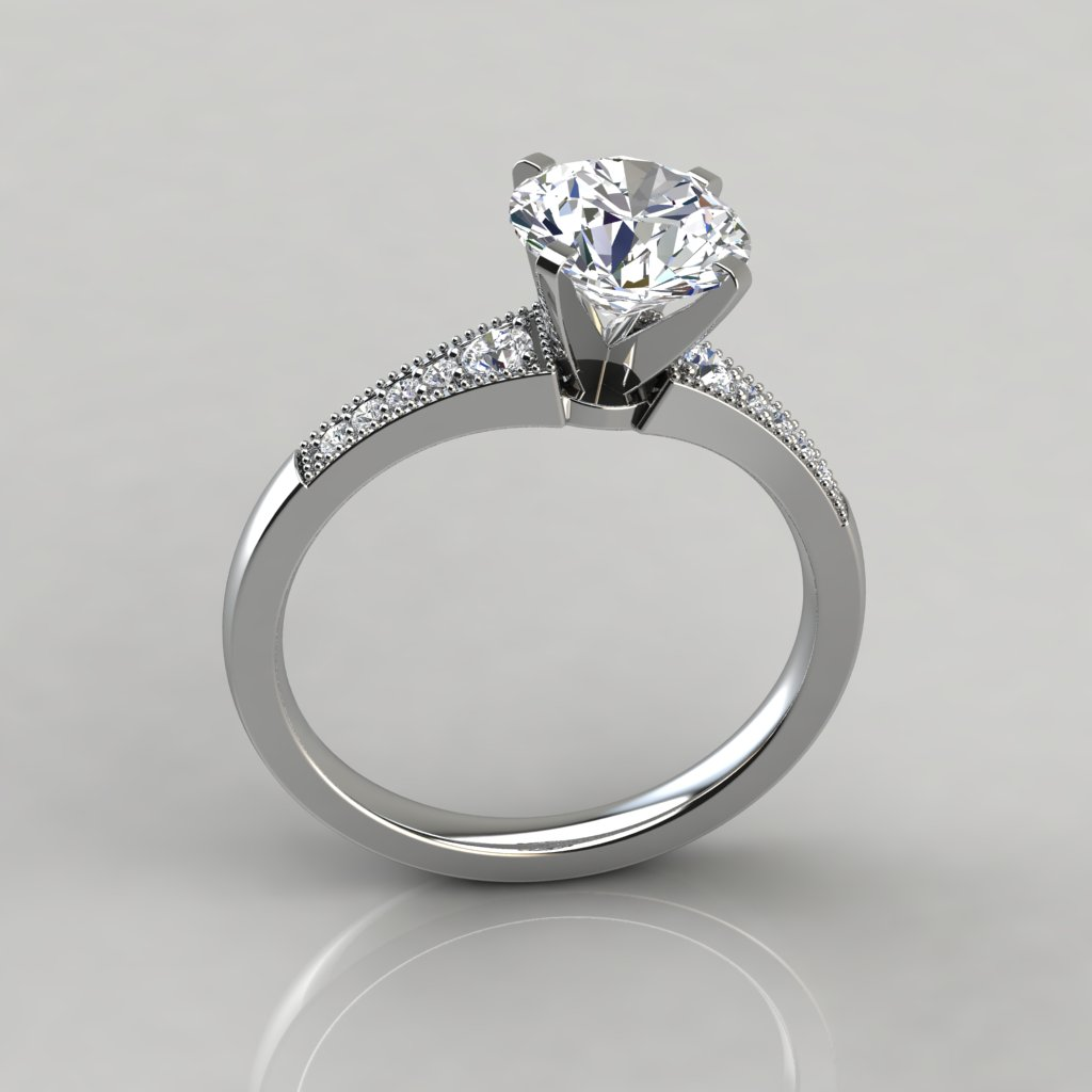 Graduated Milgrain Round Cut Engagement Ring - PureGemsJewels