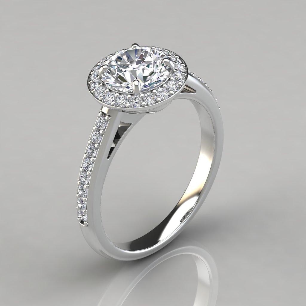 Round Cut Pavé Halo Style Engagement Ring  Puregemsjewels. Brilliant Cut Rings. Deepi Wedding Rings. 1.7 Carat Engagement Rings. Vidar Wedding Rings. Translation Rings. Genuine Wedding Rings. Month Year Wedding Rings. George Bush Rings