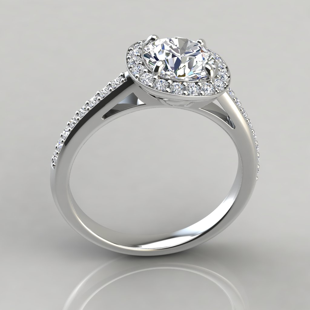 Cushion Outline Round Cut Halo Engagement Ring ...