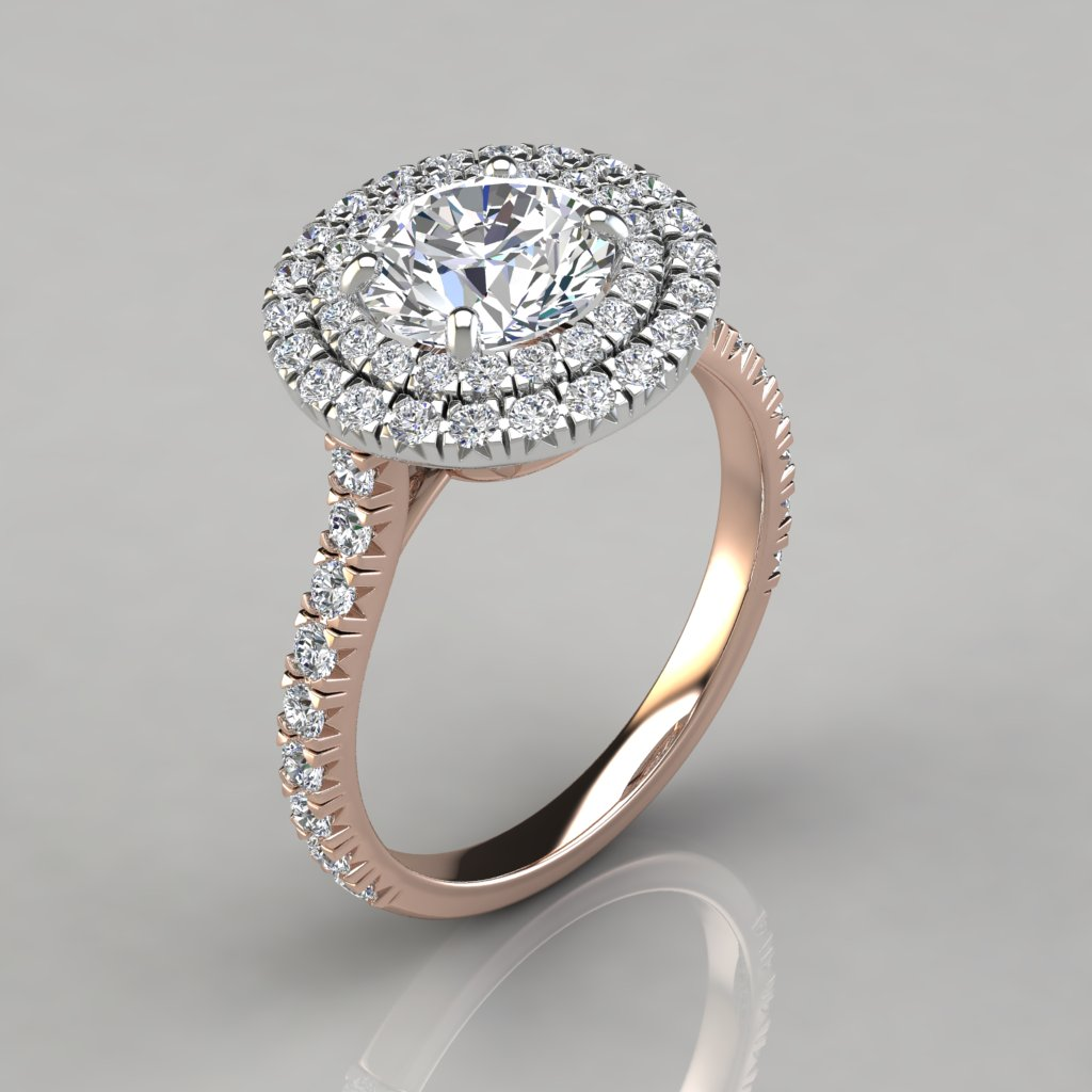 Double Halo Style Round Cut Engagement Ring