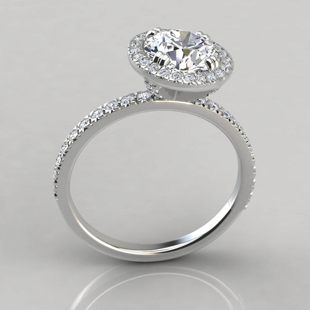 French Cut Pavé Halo Style Engagement Ring PureGemsJewels
