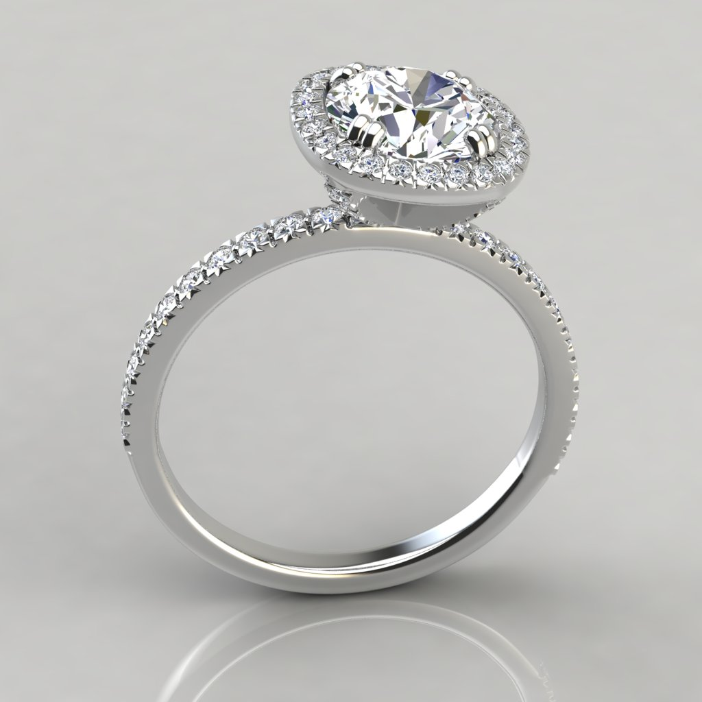 Cushion Outline French Cut Halo Engagement Ring ...