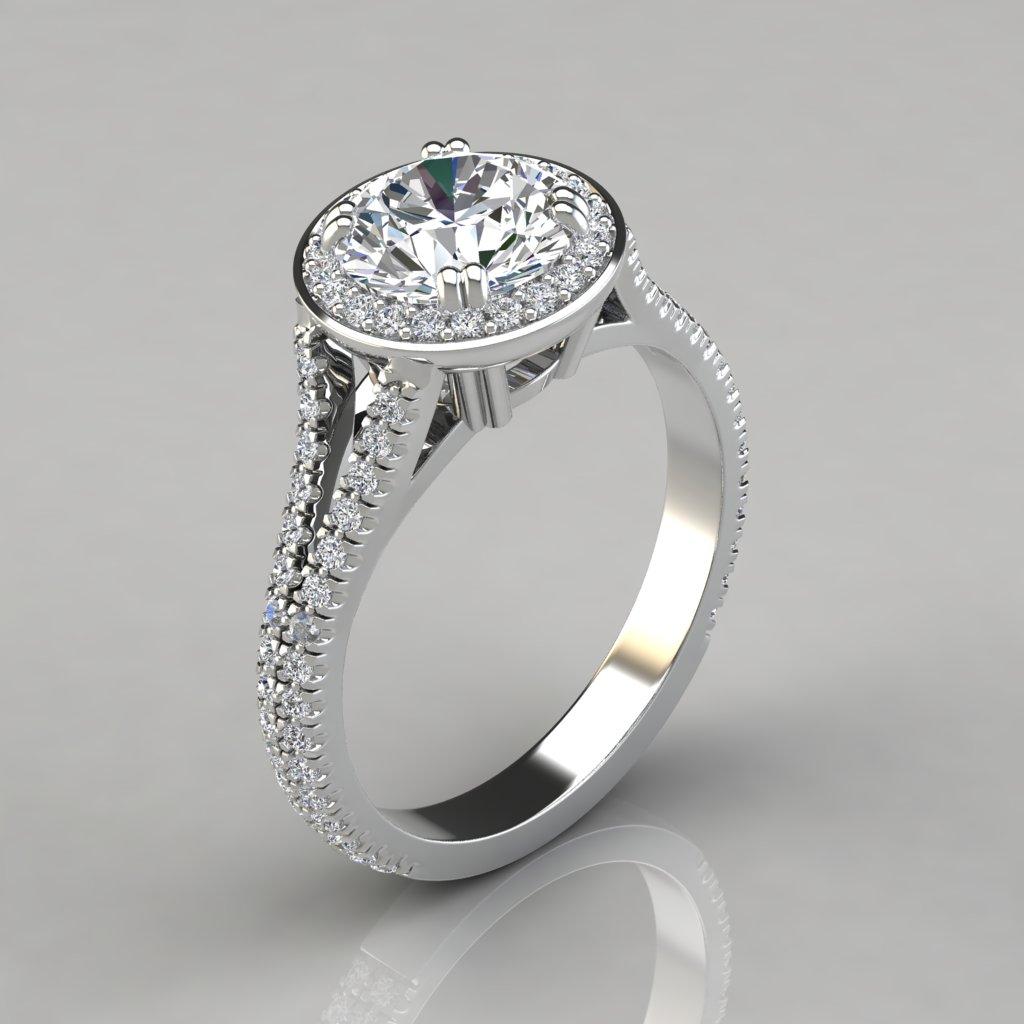 Royal Split Shank Round Cut Halo Engagement Ring ...