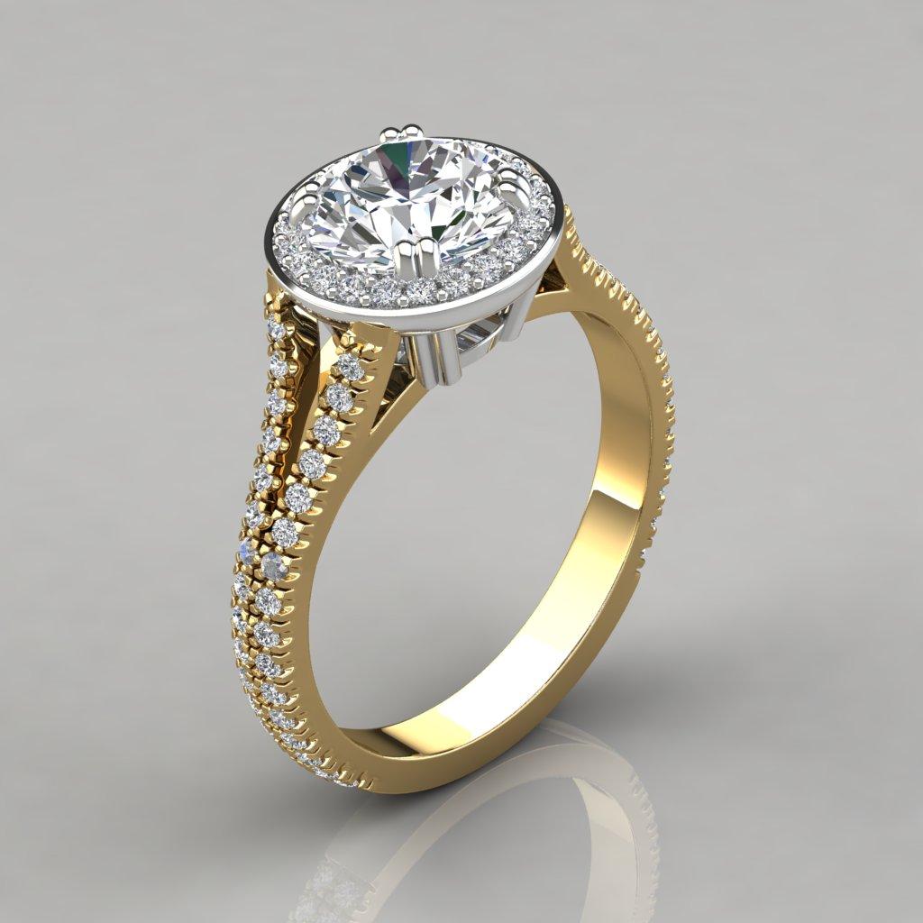 Royal Split Shank Round Cut Halo Engagement Ring