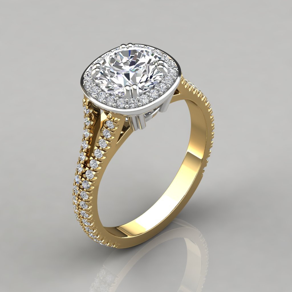 Split Shank Cushion Design Halo Engagement Ring
