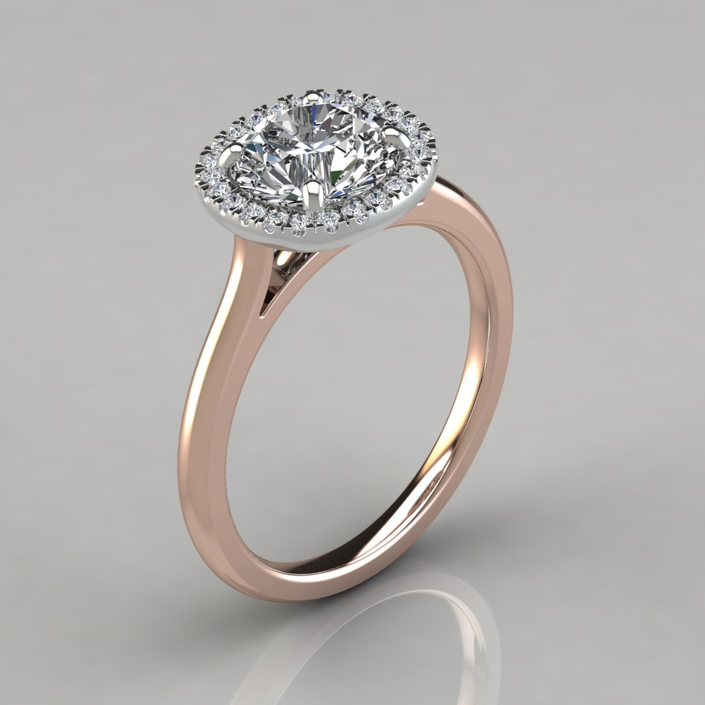 plain shank cushion design halo engagement ring