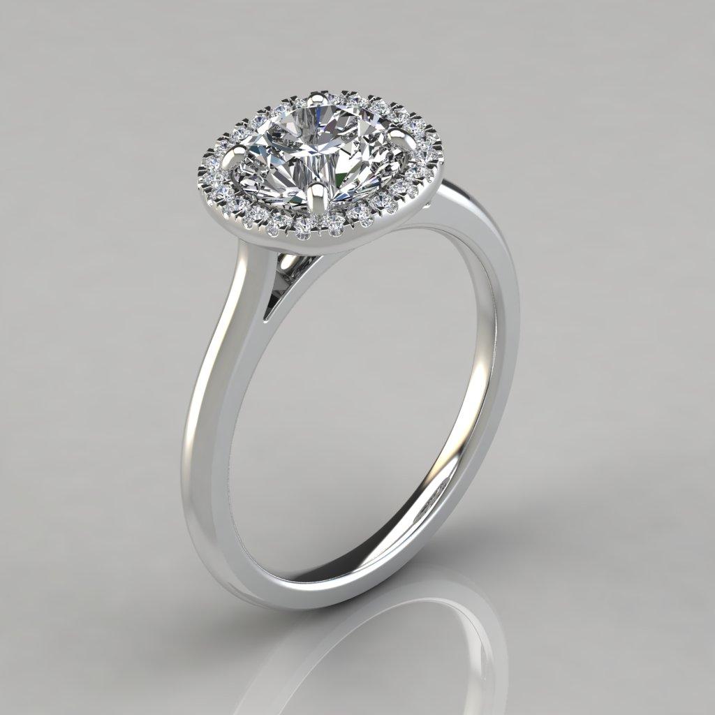 plain shank cushion design halo engagement ring