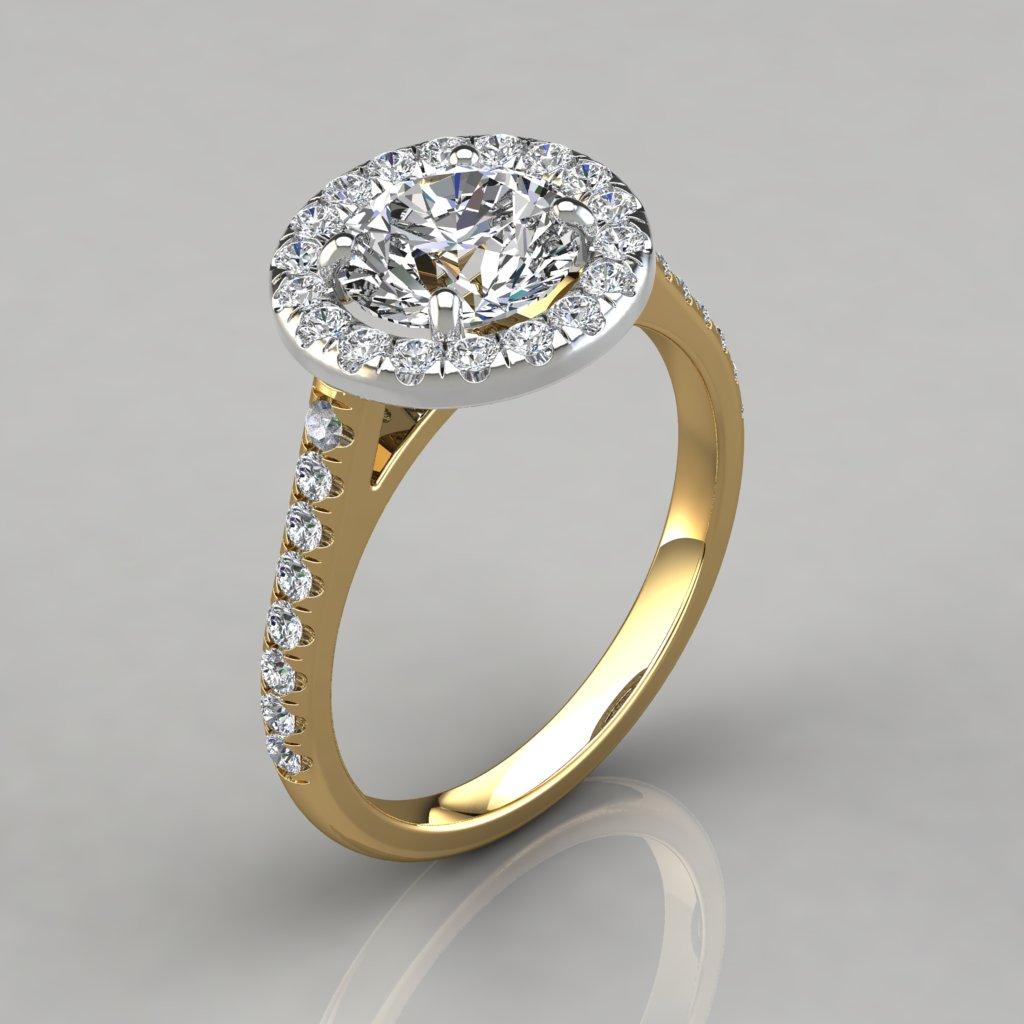 Floating Round Cut Halo Style Engagement Ring - PureGemsJewels