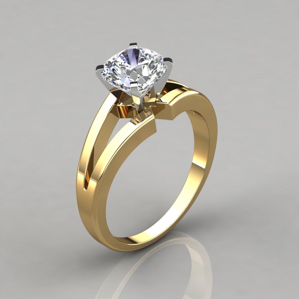 Split Shank Cushion Cut Solitaire Engagement Ring ...