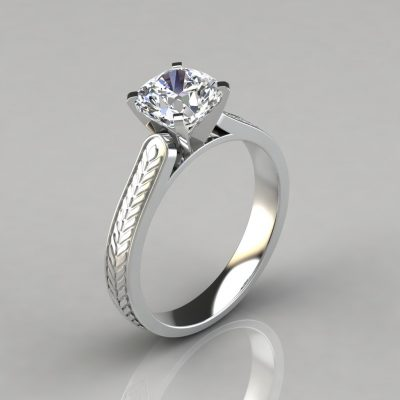 218w1-hand-engraved-cushion-cut-solitaire-lab-created-diamond-engagement-ring-pure-gems-jewels-14k-white-gold