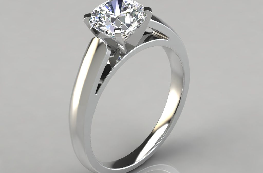 Cathedral Design Cushion Cut Solitaire Engagement Ring